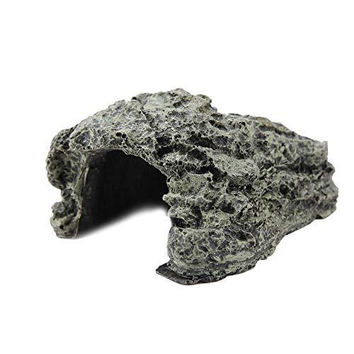 Grotta di Pietra Rifugio Che nasconde la casa delle Tartarughe per Rettile Tartaruga Rana Ornamento della Decorazione dell acquario dello Zoo (Piccolo, 9 x 7 x 4 cm)