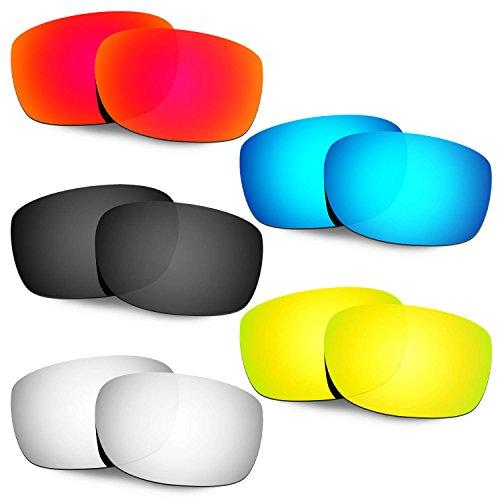 HKUCO Mens Replacement Lenses For Oakley Straightlink Red/Blue/Black/24K Gold/Titanium Sunglasses