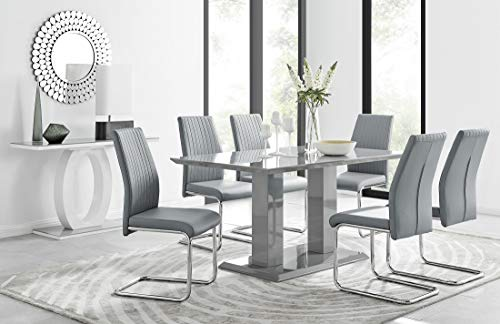 Imperia 6 Modern Grey High Gloss Dining Table And 6 Stylish Contemporary Lorenzo Dining Chairs Set (Dining Table + 6 Grey Lorenzo Chairs)