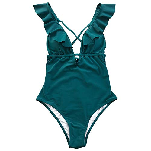 Borgoña De Una Pieza Traje De Baño Mujer Volante con Cuello En V Monokini Chicas Playa Traje De Baño Traje De Baño Aa10040L XXL