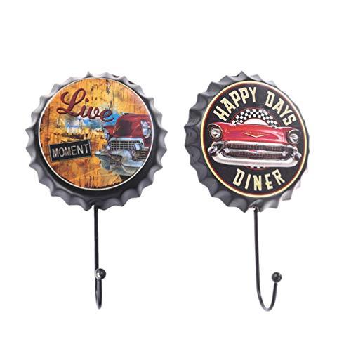 IMIKEYA 2 ganchos decorativos para botellas de cerveza, de hierro retro, organizador para bolsos, ganchos para colgar llaveros, decoración de bar, perchero de pared