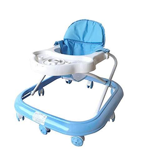 TINE Andador de Actividades Andador Bebé Plegable Anti-vuelco Andador con Plato Multifuncional Silla de Bebé para Bebés Mayores de 6 Meses Carga Máxima 15 kg,Azul