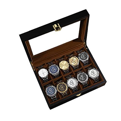BATQER Schmuckkästchen, Caja de Reloj Pantalla Sistema de Madera Caja de Reloj Cajas de Almacenamiento de Reloj con Cerradura con Tapa de Vidrio para Almacenamiento de joyería-black-a-20X 26.3X8CM