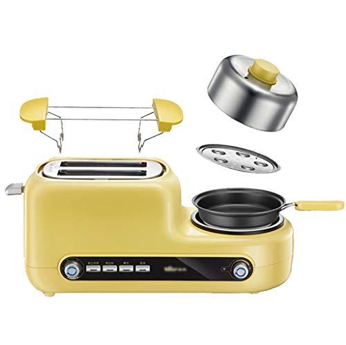 Tostadora 2 Slice Toaster y huevo Maker 4-en-1 multifunción desayuno fabricante de máquinas, pan tostado y huevo fabricante de acero inoxidable Tostadora con extra anchas, Slots 5 Ajustes de sombra Pa