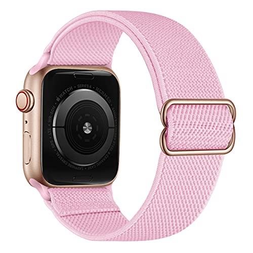 Solo Loop elástico de nailon compatible con correas de Apple Watch de 38 mm y 40 mm, elásticos de nailon trenzados ajustables para hombres y mujeres, compatible con iWatch Series 6/5/4/3/2/1, SE