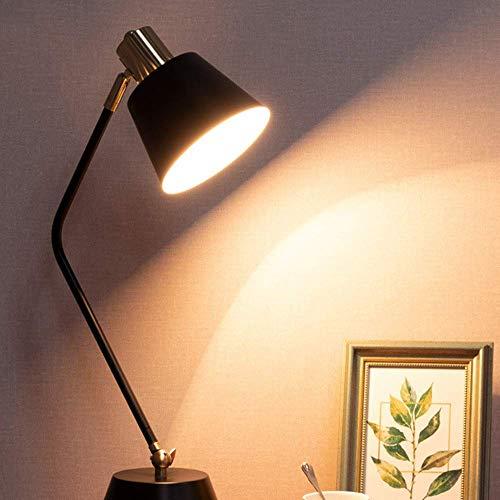 Lámpara Escritorio Lámpara LED metal moderna sala de estar minimalista aprendizaje moda creativa oficina dormitorio mesita de noche lámpara de mesa de metal 19 * 46 cm (color:blanco) ( Color : Black )