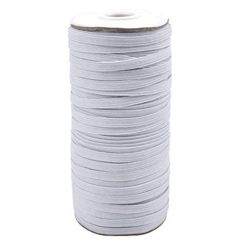 Goma Elastica 64m Cordon Elastico 6mm elastico Costura, Cuerda Elastica,Cinta Elastica Costura,Cordón Goma Elástica para Costura Y Manualidades DIY Blanco
