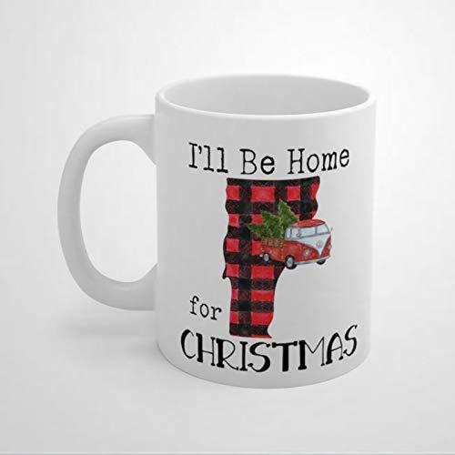 Vermont State - Taza de café de cerámica con diseño de búfalo rojo, regalo de Navidad y cumpleaños para mujeres y hombres