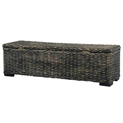 Tidyard Boîte de Rangement 120 cm/Banc de Rangement en Rotin Naturel kubu et manguier Noir pour Salon ou Chambre