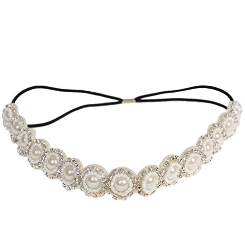 JUSTFOX - Luxus Haarband mit Perlen, Strass und Pailletten