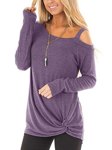 YOINS - Camisetas de manga larga y hombro descubierto para mujer. Diseño frontal cruzado, corte holgado Morado. S