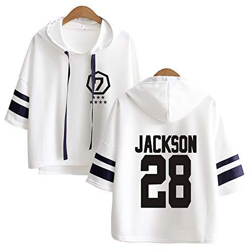 KPOP GOT7 Kapuzenpullover Bedrucken T-Shirt Loose Sweater 3/4 Ärmel Hoodies Sweatshirts Hip Hop Herbst und Winter Tops Für Fans JB Bambam Jackson Mark Jinyoung Yugyeom Youngjae