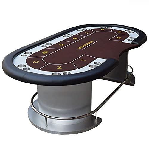 JLFFYJ Mesa de Texas Hold'em, Mesa de Póquer/Casino Portátil, Mesa de Póquer de Casino Profesional para 10 Jugadores con Portavasos y Pata de Acero Inoxidable, Marrón,240x120x80cm