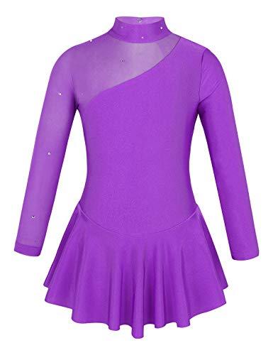inlzdz Vestido de Patinaje Artistico Niñas Manga Larga Mailot de Ballet Leotardo de Gimnasia Ritmica de Gasa Body de Danza con Falda de Bailarina Dancewear Morado 12 Años