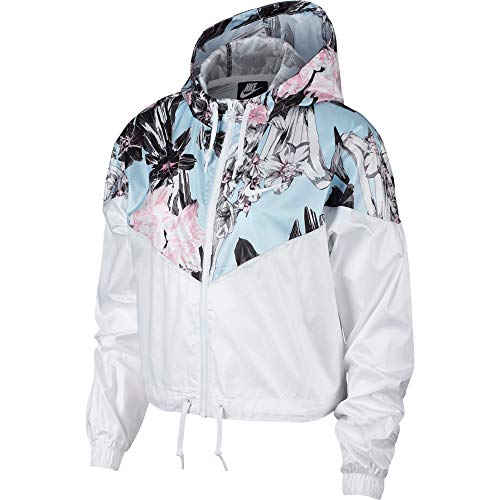 Nike Women's Windrunner Windbreaker Jacket, White/Floral (White, Medium)