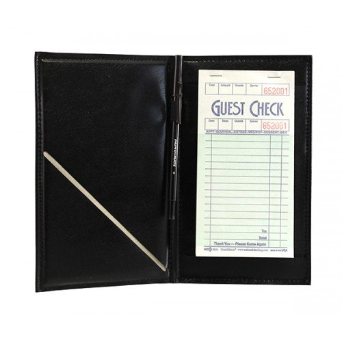 BarConic Black Vinyl Guest Check Order Holder with Pen Loop