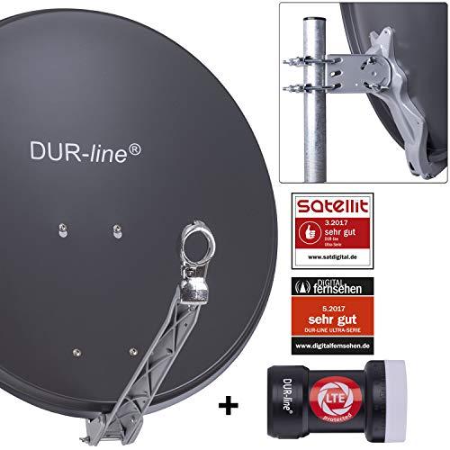 DUR-line 1 Teilnehmer Set - Qualitäts-Alu-Satelliten-Komplettanlage - Select 60cm/65cm Spiegel/Schüssel Anthrazit + Single LNB - für 1 Receiver/TV [Neuste Technik, DVB-S2, 4K, 3D]