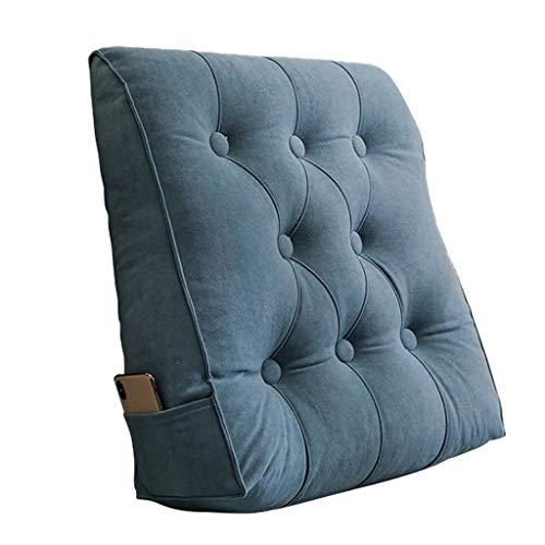 xinke Almohada del Respaldo De La Cama para El Sofá Cama Cama De Día Y Almohada De Lectura De Cabecera Tapizada con Cubierta Extraíble Y Lavable(Size:55×60×20cm,Color:Azul)