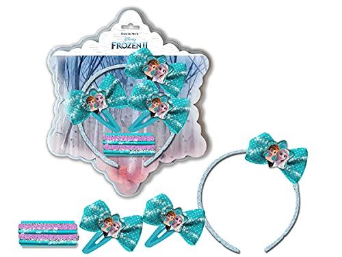 Coriex Frozen - Juego De Accesorios Para El Pelo, Diadema, Gomas Y Pinzas Elsa Y Anna, Azul Celeste