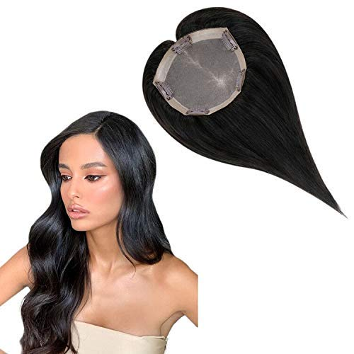 Hetto Real Human Hair Toppers Crown Topper Extensiones de Cabello Natural Mono Base Invisible Clip for Hair Loss 10Pulgada #1B Negro 13x13cm