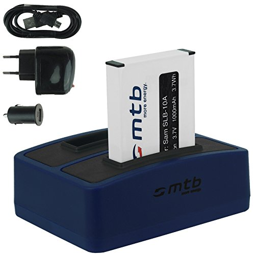Akku + Dual-Ladegerät (Netz+Kfz+USB) für Samsung SLB-10A / Toshiba Camileo X-Sports/JVC Adixxion/Silvercrest/Medion Action Cam. s. Liste