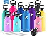 KollyKolla Gourde INOX Isotherme, Bouteille d'eau avec Paille & Filtre sans BPA, Isolation sous Vide...