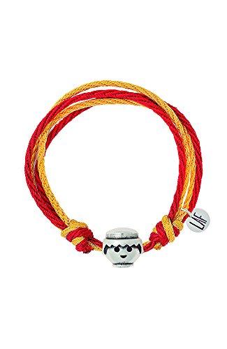 Pulsera Playmobil Doble Marea cordón de algodón rojo/amarillo cabeza chico grande. Talla...