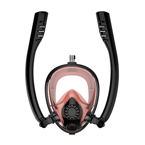 CQ Schnorchel Maske Easy Breath Anti-Fog Anti-Leak 180°Ansicht Vollgesichtsmaske für Erwachsene oder Kinder,Black-Orange,S/M