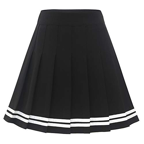 Dressystar Damen Dehnbar Faltenrock Schulmädchen Solide Skater Tennis Basic Mini Rock Black White Strip L