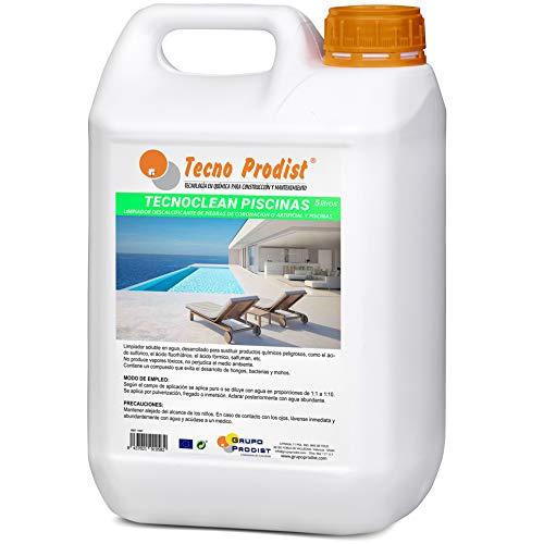TECNOCLEAN PISCINAS de Tecno Prodist (5 Litros) Limpiador profesional de piedras de coronación, piscinas, piedra artificial, baldosas y gresite. Evita hongos, bacterias y mohos, para suelos y paredes