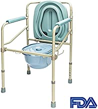Mefeir Bedside Commode Potty Chair, 330LBS Seat Safety Folding Height Adjustable,Hand-held Easy Transfer Space Saving, Homecare Toilet Medical Use