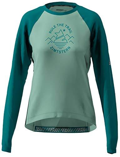 Zimtstern Damen PureFlowz Shirt LS WMNS MTB, Granite Green/Pacific Green/Blush, L