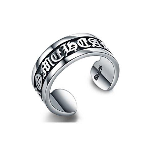 Jazlyn Unisex Ring mit Öffnung, größenverstellbar, 925Sterlingsilber, 16Ct, mit Gebet-Gravur Sechs Wahre Worte