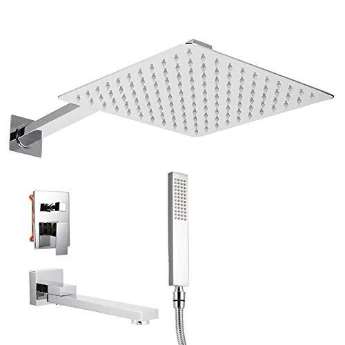 Sistema de ducha kit de grifo de cabezal de ducha de lluvia con rosca G1 / 2in montado en la pared oculto con soporte de ducha de panel decorativo