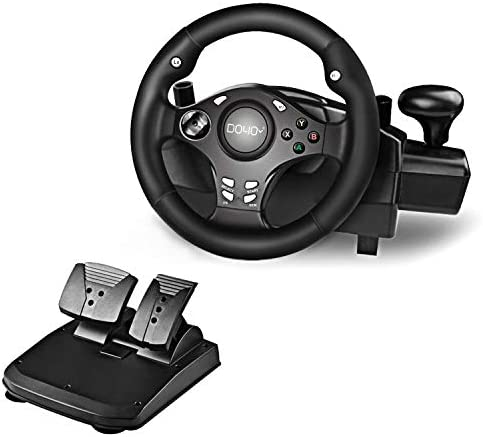 DOYO 270 Degree Motor Vibration Driving Gaming Racing Wheel with Responsive Gear and Pedals product image