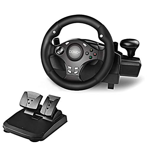 DOYO 270 Degree Motor Vibration Driving Gaming Racing Wheel with Responsive Gear and Pedals for PC/PS3/PS4/XBOX ONE/XBOX 360/NIntendo Switch/Android