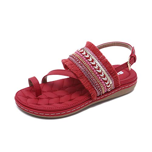 Chickwin Mujer Verano Elegante Sandalias Cómodos Bohemias Las Zapatos Planas Tacon Hebilla Tobillo Correa Zapatos de Playa Baño Fiesta Chanclas