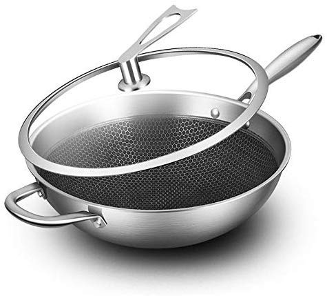 Roestvrij stalen kookgerei roestvrij stalen wok anti-aanbakplaat geen olie rook ongecoate platte bodem inductie Cooker Gas Cooker kookgerei inductie pot gietijzer