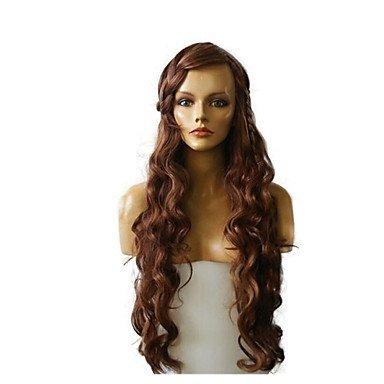 Femme Perruque synthétique Long Deep Wave Dark Auburn Souligné/balayage Cheveux Naturel Aspect naturel des Perruques Celebrity Perruque Costume Perruque