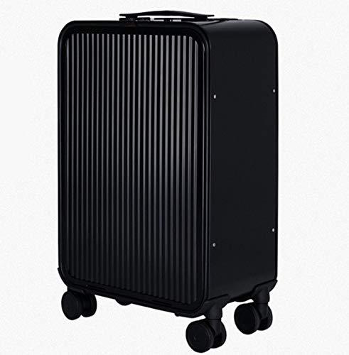 Mdsfe 20' 24' inch aluminium suitcase TAS LOCK 100% spinner business trolley luggage bag on wheel-Black,24'