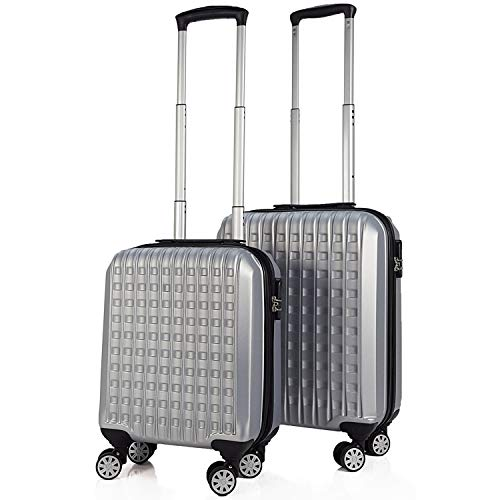 SIGN Wellsigned Reisekoffer Sondermaß Handgepäck, mit 4 laufruhigen 360° Doppelrollen (Silber, 2er Set)