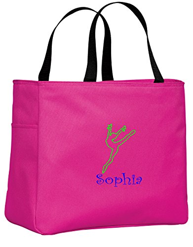 all about me company Personalized Embroidered Dance 2 Sport Essential Tote Bag (Tropical Pink)