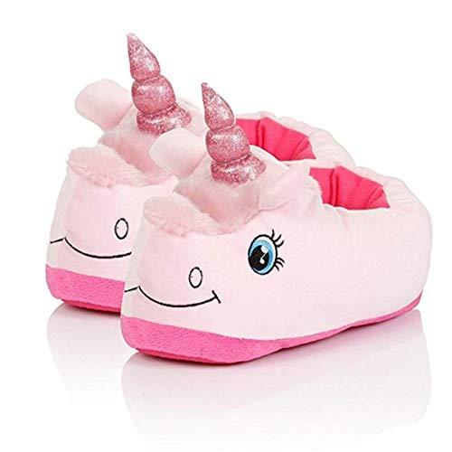 Pantofole Unicorno con Animali Cosplay Ciabatte Peluch Caldo Pantofole Indoor Inverno Slipper (25-33, Rosa Chiuse)