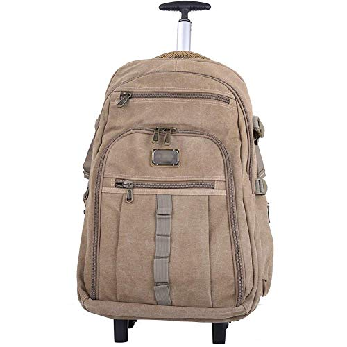 ZLININ Y-longhair Hiking Backpacks, Student Backpack,Rolling Backpack Wheeled Laptop Backpack Business Travel Wheeled Rolling Trolley Backpack Suitcase Hand Luggage Bag Case,Khaki,Medium