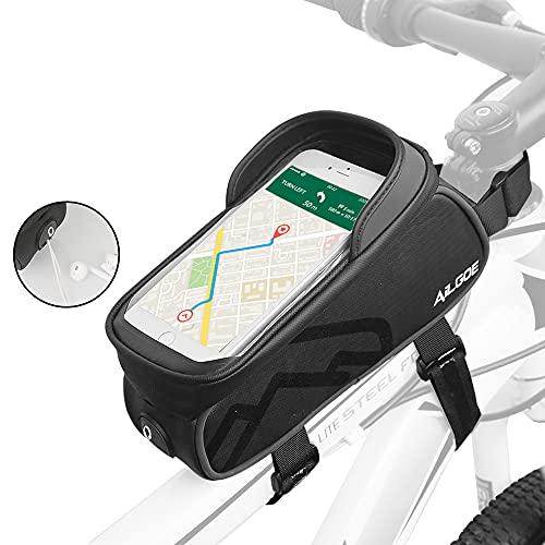 AILGOE Fahrradrahmentasche,Rahmentasche wasserdicht,Fahrrad-Handytasche , Rahmentasche Fahrrad mit TPU Touchscreen Fahrradtaschen für Smartphone Unter 6.5-7Zoll(23x11x13.5CM)