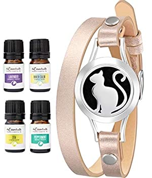 Wild Essentials Pretty Kitty Cat Essential Oil Diffuser Bracelet Gift Set with Aromatherapy Pendant 14.5  Leather Wrap Band Refill Pads and 100% Pure Oils  Lavender Peppermint Inner Calm and Zen