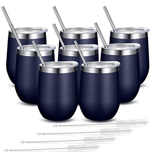 Fungun 8 Pack Stemless Wine Tumbler with Straws, Navy Blue 12 Oz Stainless Steel Wine Glass, Unbreakable Double Wall Cup Insulated Tumbler with Lids for Wine, Coffee, Drinks, Cocktails, Champagne