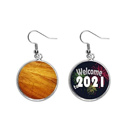 Pendientes de madera irregulares con patrón de rayas subtued para la oreja, joyería 2021 bendición