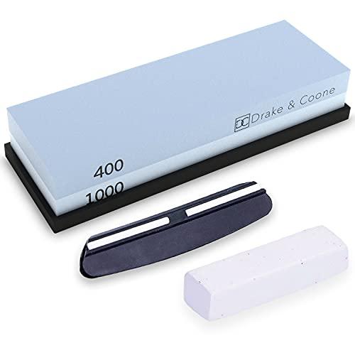 Drake & Coone Piedra de afilar con soporte antideslizante – Piedra de afilar con 2 granos (400, 1000) para cuchillos – Afilador de cuchillos con pasta de pulido y riel