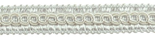 12.3 Meter Value Pack of 13mm Basic Trim Decorative Gimp Braid, Style# 0050SG Color: WHITE - A1, (41 Ft / 13.5 Yards)